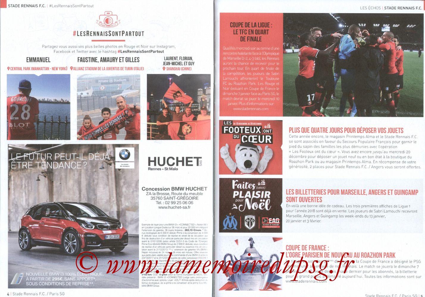 2017-12-16  Rennes-PSG (18ème L1, Le Programme de match) - Pages 04 et 05