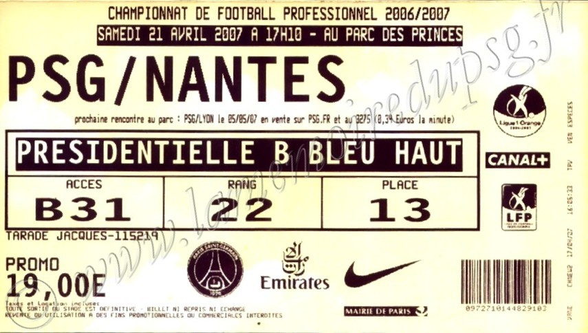 2007-04-21  PSG-Nantes (33ème L1, bis)