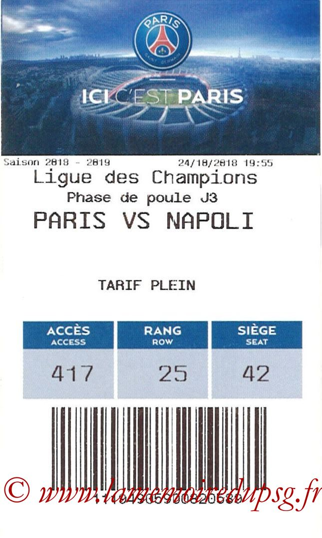 2018-10-24  PSG-Naples (3ème C1, E-ticket)
