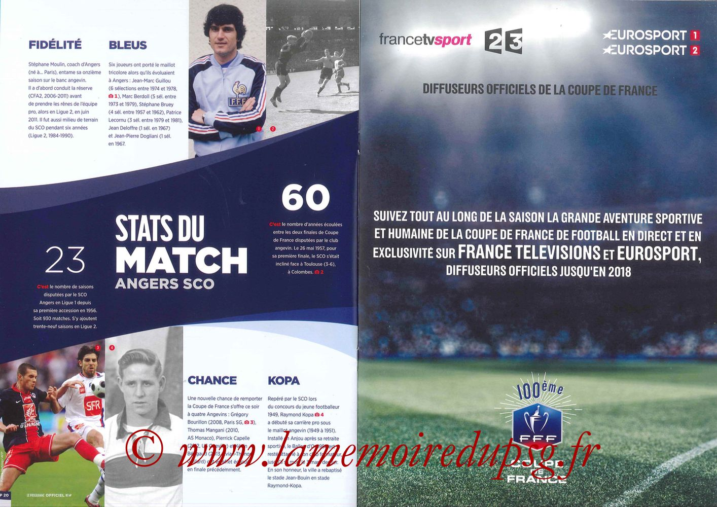 2017-05-27  Angers-PSG (Finale CF à Saint-Denis, Programme officiel) - Pages 20 et 21