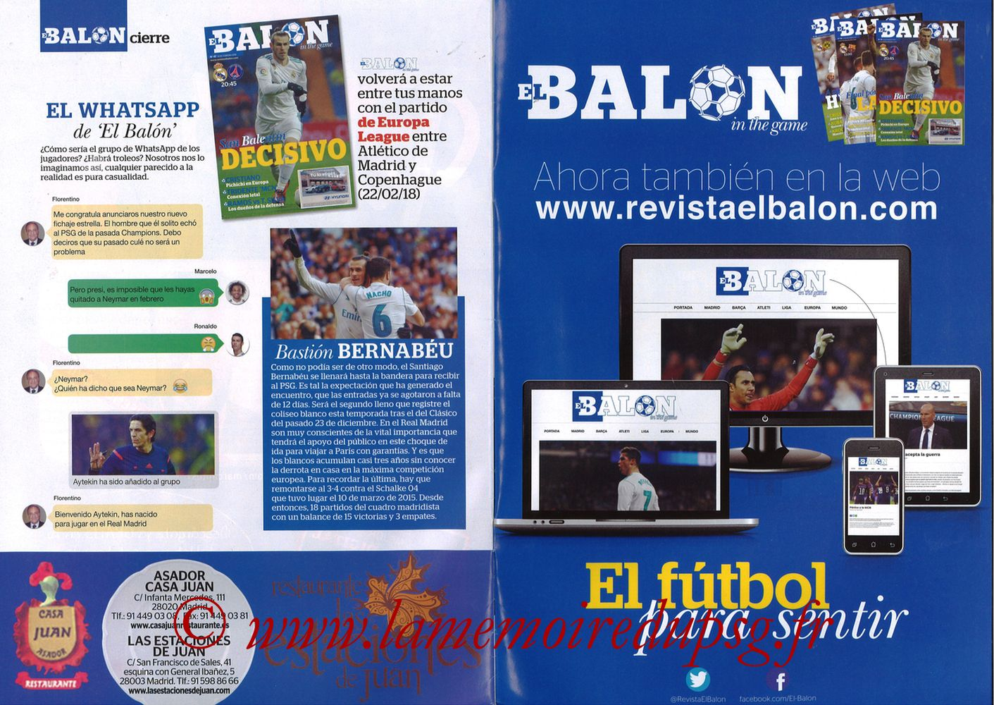 2018-02-14  Real Madrid-PSG (8ème Aller C1, El Balon in the game N°47) - Pages 30 et 31