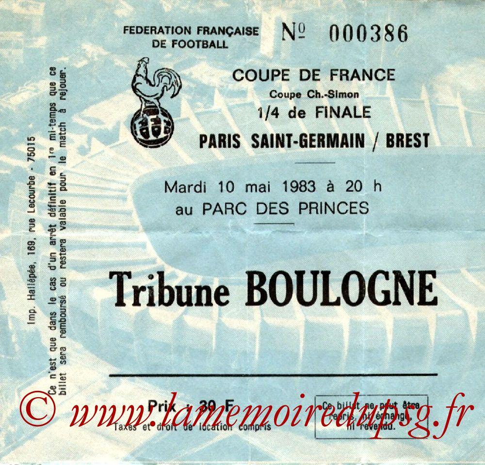 Ticket  PSG-Brest  1982-83
