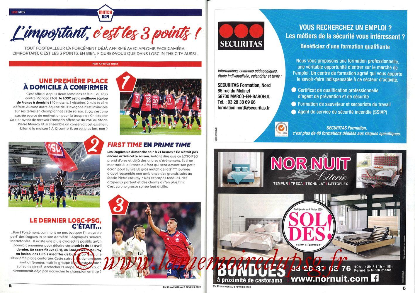 2020-01-25  Lille-PSG (21ème L1, Losc in the City N°41) - Pages 14 et 15