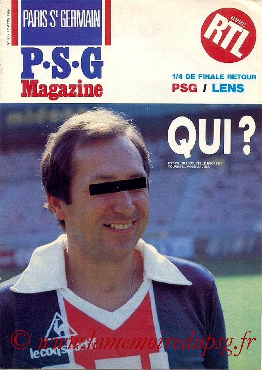 1986-04-01  PSG-Lens (Quart Finale Retour CF, Paris St Germain Magazine N°21)