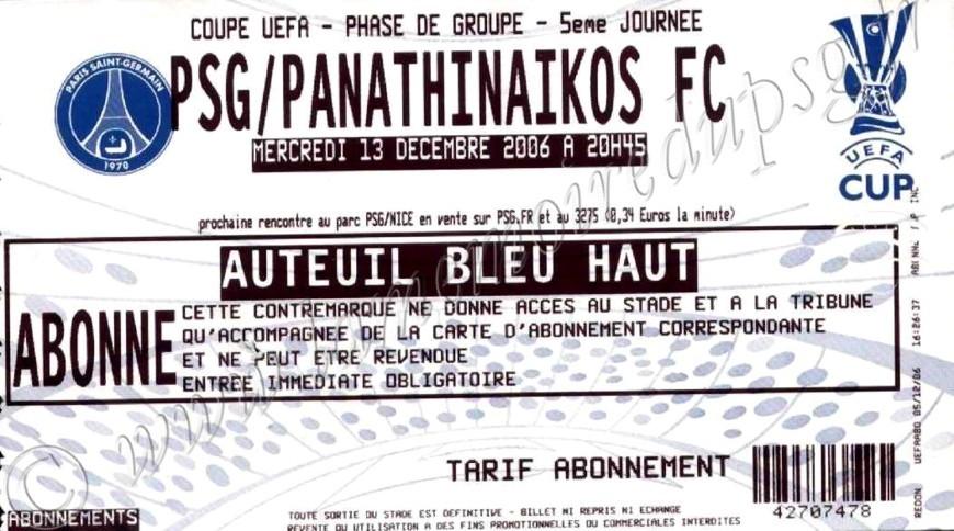 2006-12-13  PSG-Panathinaikos (5ème journée poule C3)