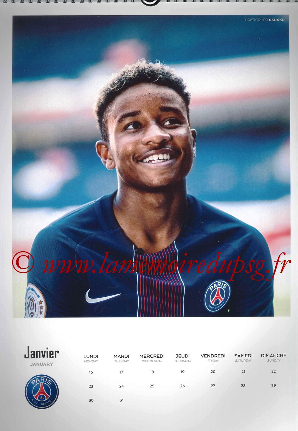 Calendrier PSG 2017 - Page 02 - Christopher NKUNKU