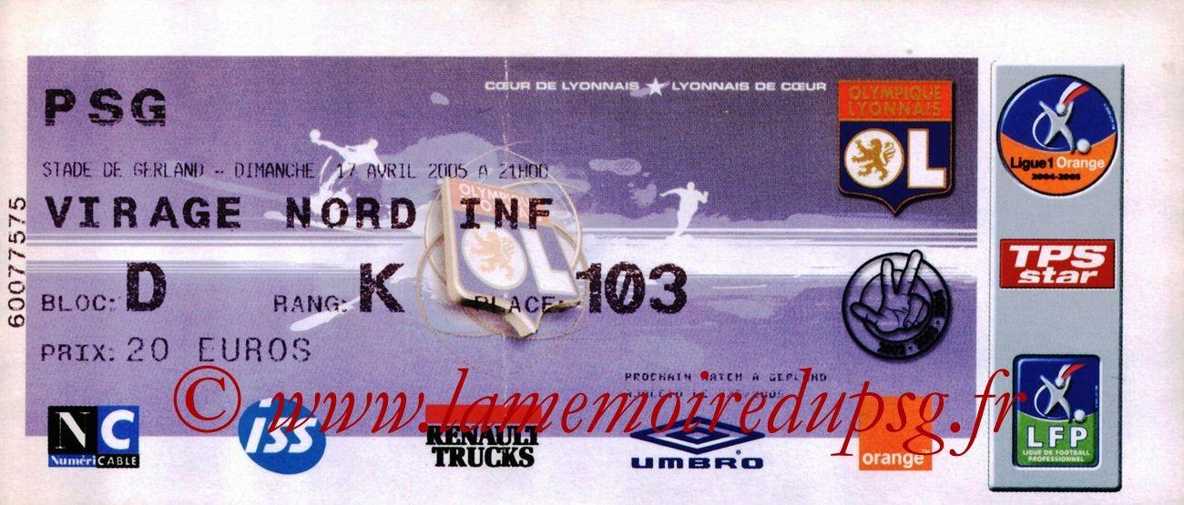 2005-04-17  Lyon-PSG (33ème L1)