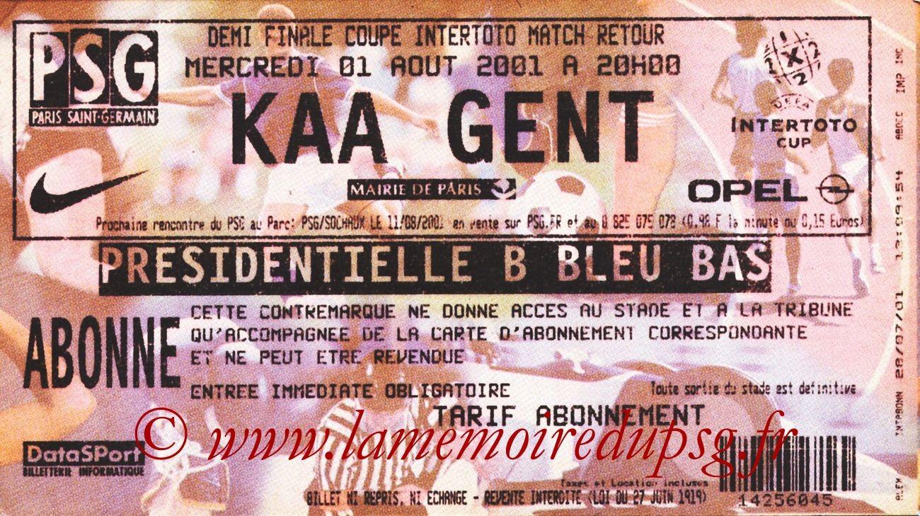 2001-08-01  PSG-La Gantoise (Demi-Finale Retour Intertoto)