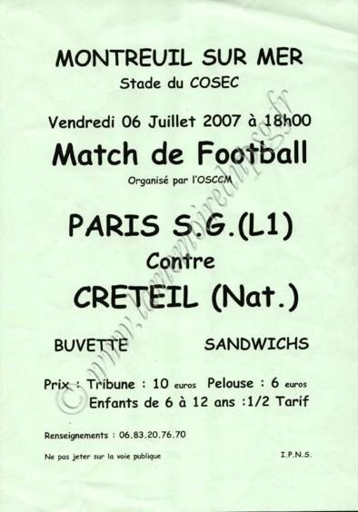 2007-07-06  PSG-Creteil (Amical à Montreuil sur Mer, Affichette)