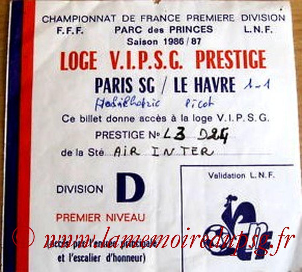 1986-10-17  PSG-Le Havre (13ème D1 Loge VIP)