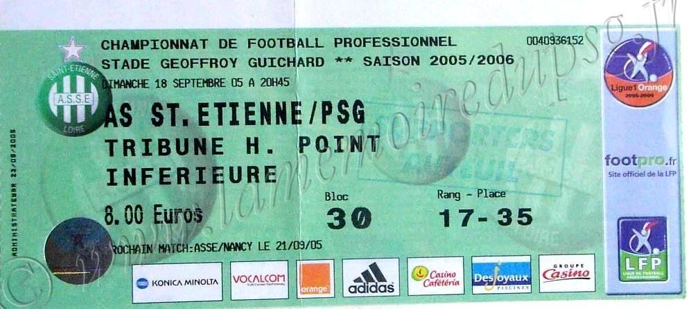 2005-09-18  Saint Etienne-PSG (7ème L1)