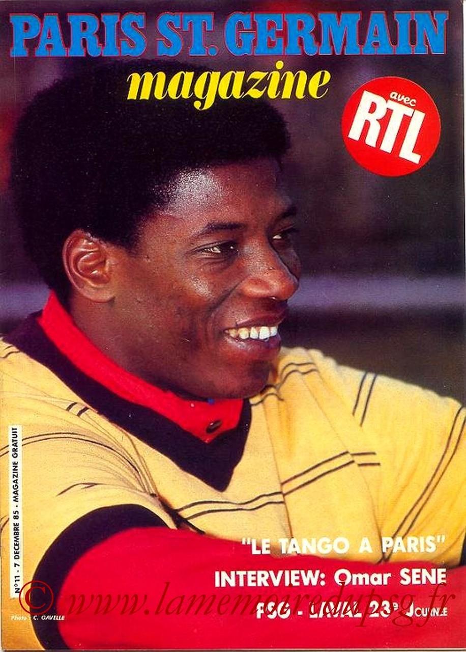 1985-12-07  PSG-Laval (23ème D1, Paris St Germain Magazine N°11)