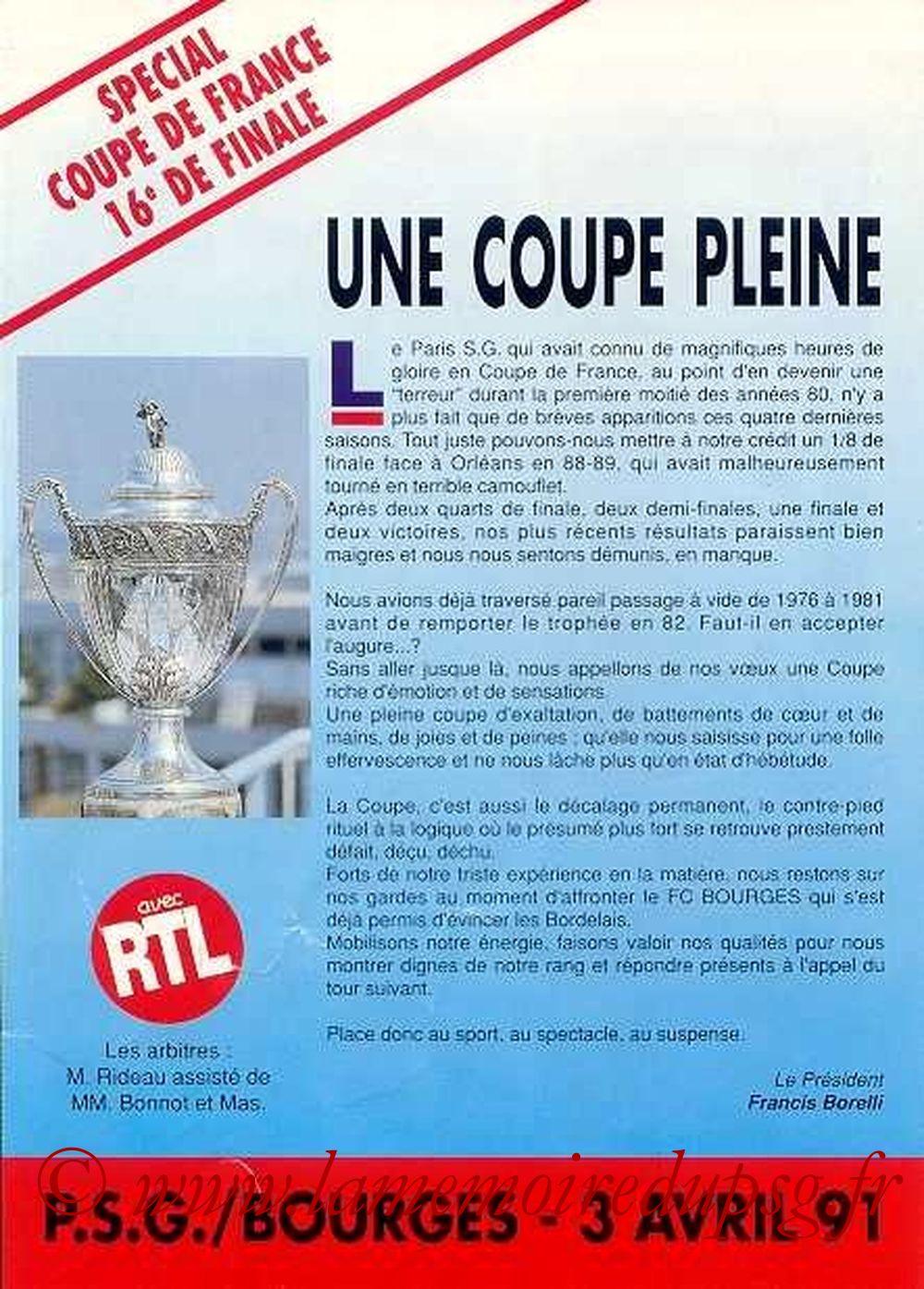 1991-04-03  PSG-Bourges (16ème Finale CF, Officiel)