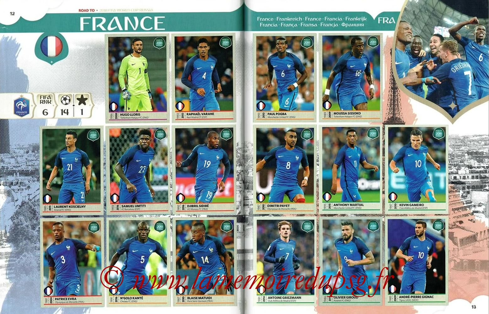 2018 - Panini Road to FIFA World Cup Russia Stickers - Pages 12 et 13 - France