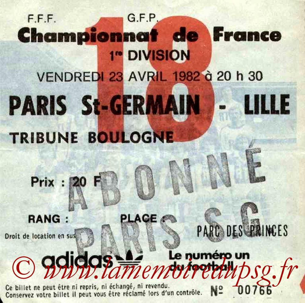 1982-04-23  PSG-Lille (36ème D1, Ticket N°18)