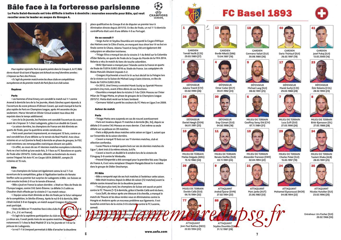 2016-10-19  PSG-Bâle (3ème Poule C1, Programme pirate) - Pages 06 et 07