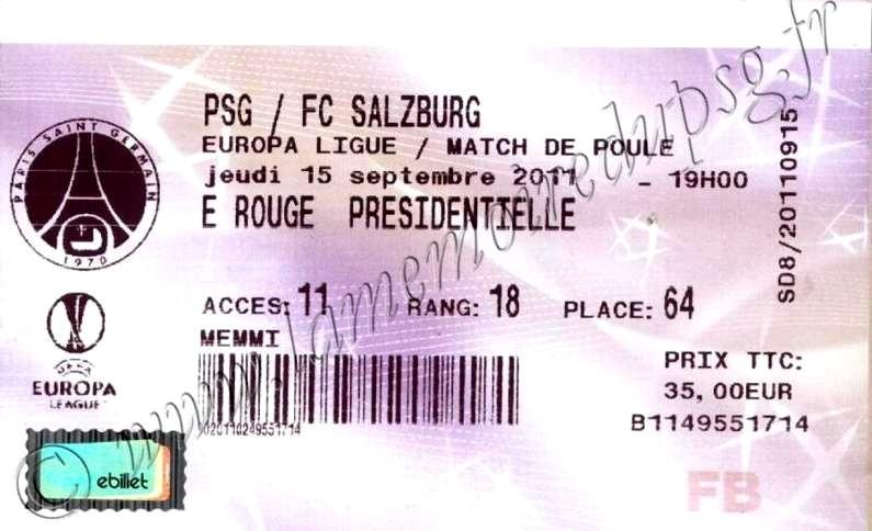 2011-09-15  PSG-FC Salzburg (1ère journée Poule C3, Billetel)