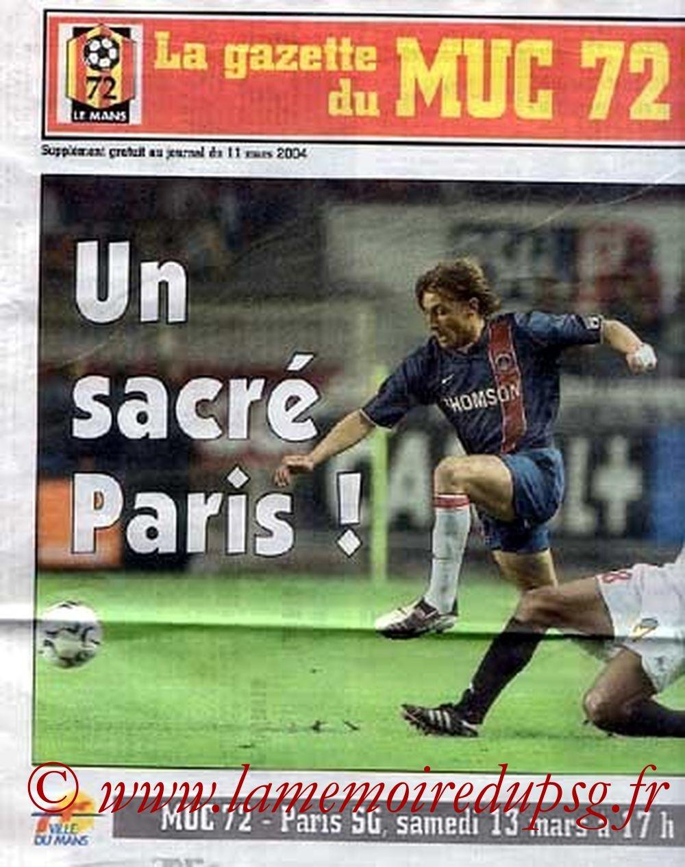2004-03-13  Le Mans-PSG (28ème L1, La Gazette du MUC72)
