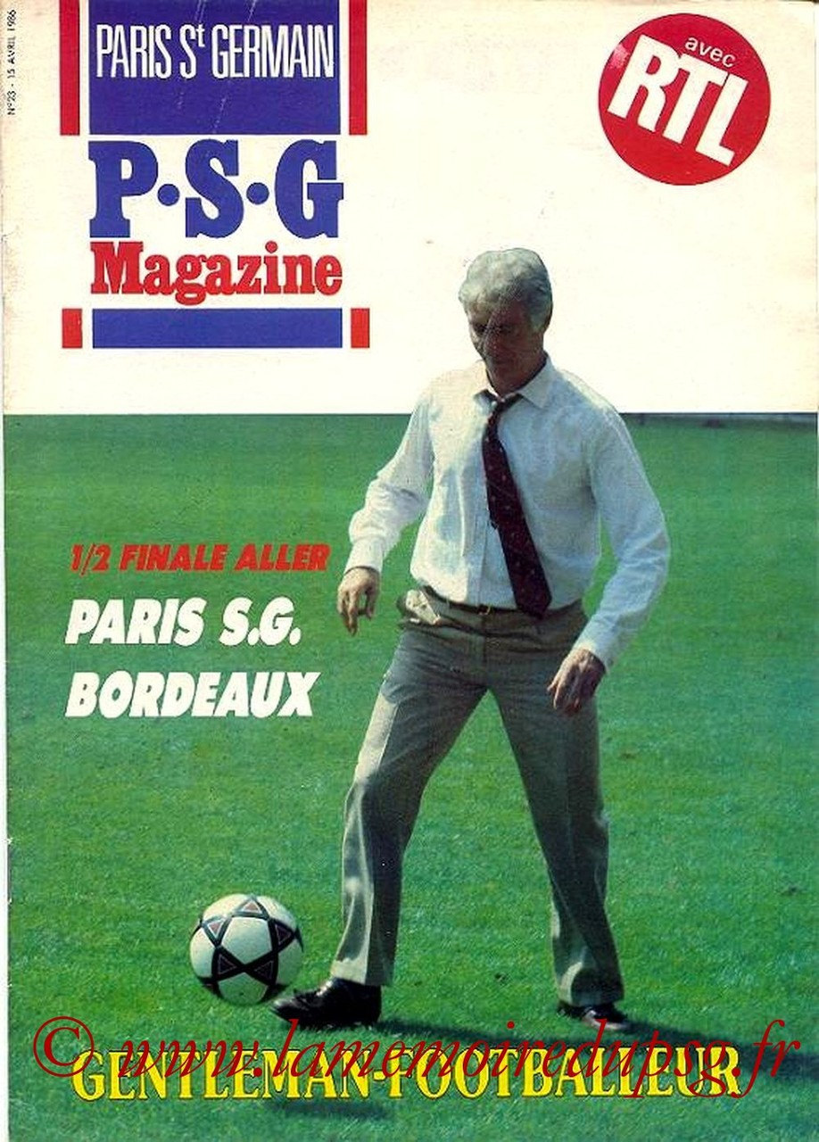 1986-04-15  PSG-Bordeaux (Demi-Finale Aller CF, Paris St Germain Magazine N°23)