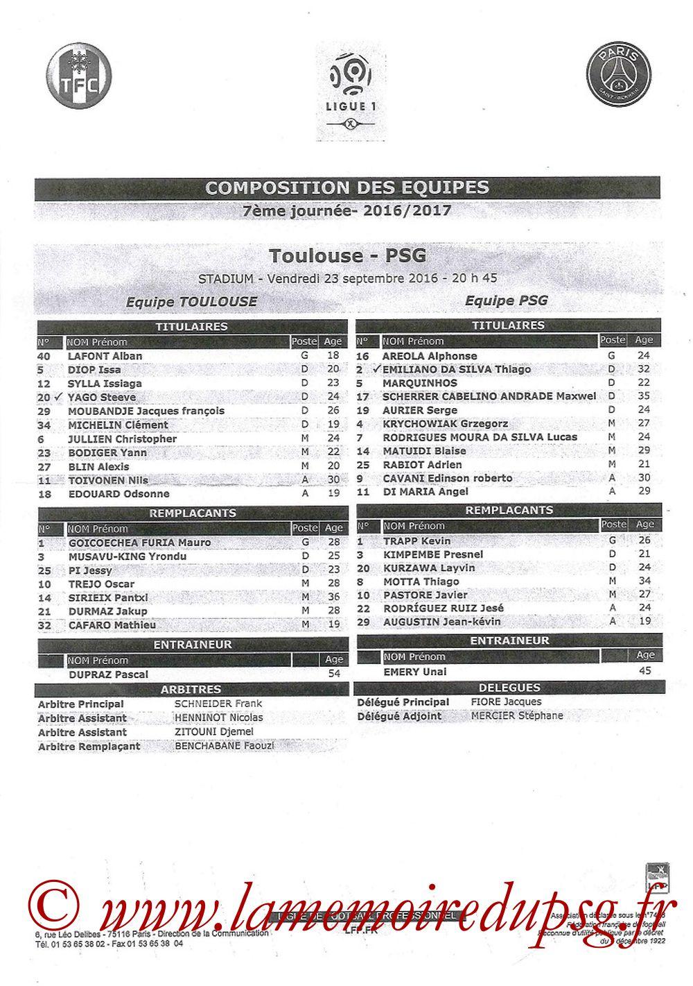 2016-09-23  Toulouse-PSG (7ème L1, Feuille de match)