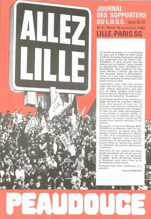 1982-11-16  Lille-PSG (15ème D1, Allez Lille N°6)