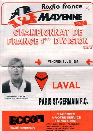1987-06-05  Laval-PSG (38ème D1, Programme officiel)