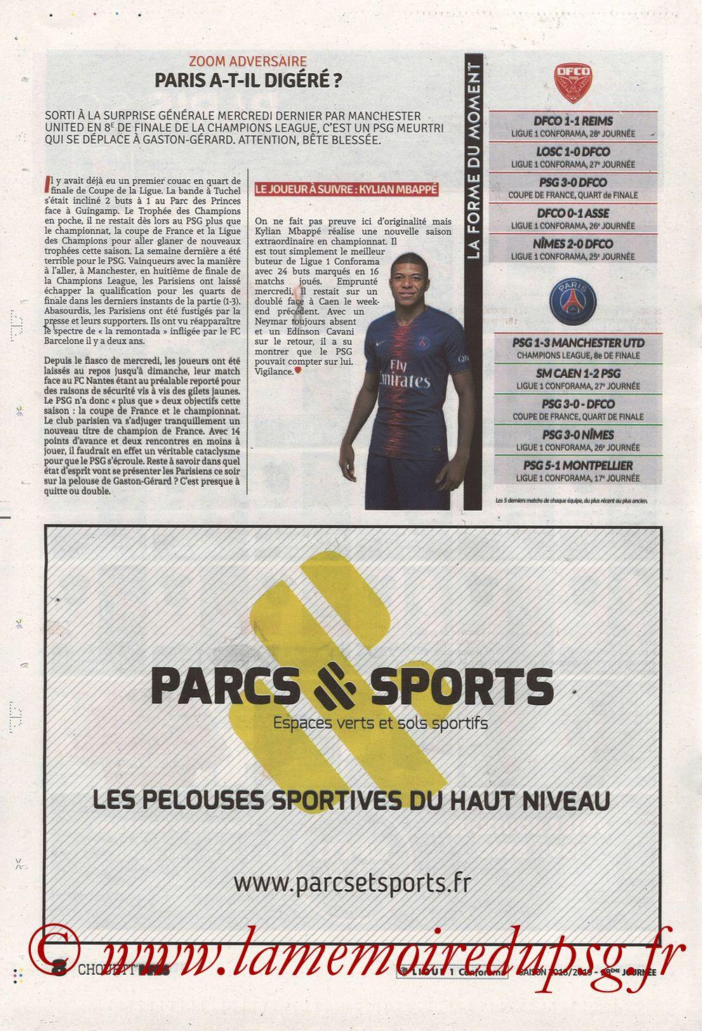 2019-03-12  Dijon-PSG (18ème L1 en retard, Chouett'Infos) - Page 08