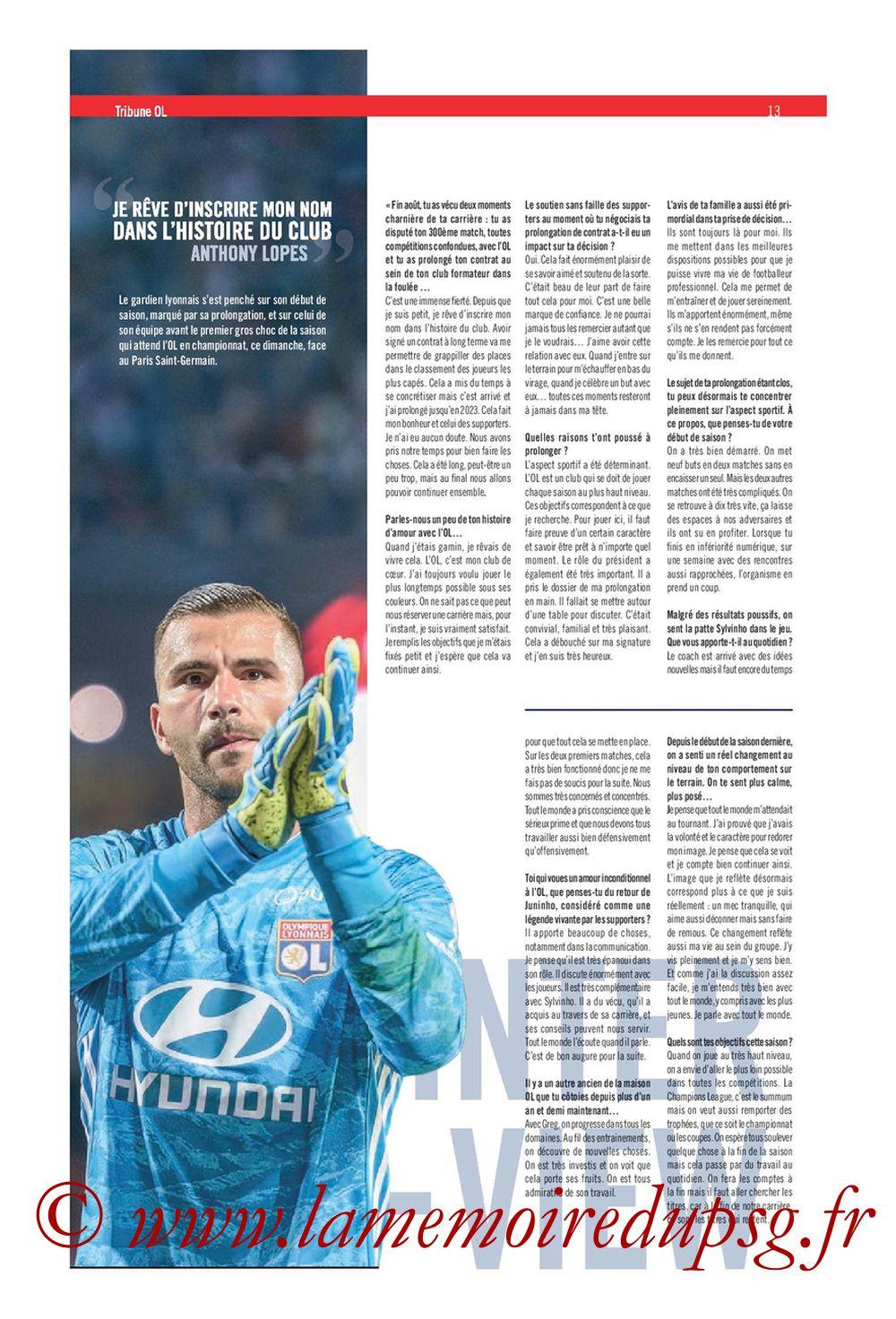 2019-09-22  Lyon-PSG (6ème L1, Tribune OL N°284) - Page 13