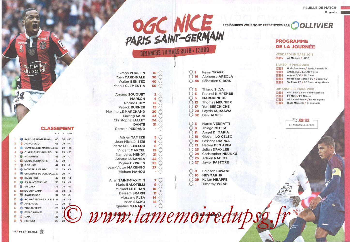 2018-03-18  Nice-PSG (30ème L1, OGC Nice Mag N°306) - Pages 14 et 15
