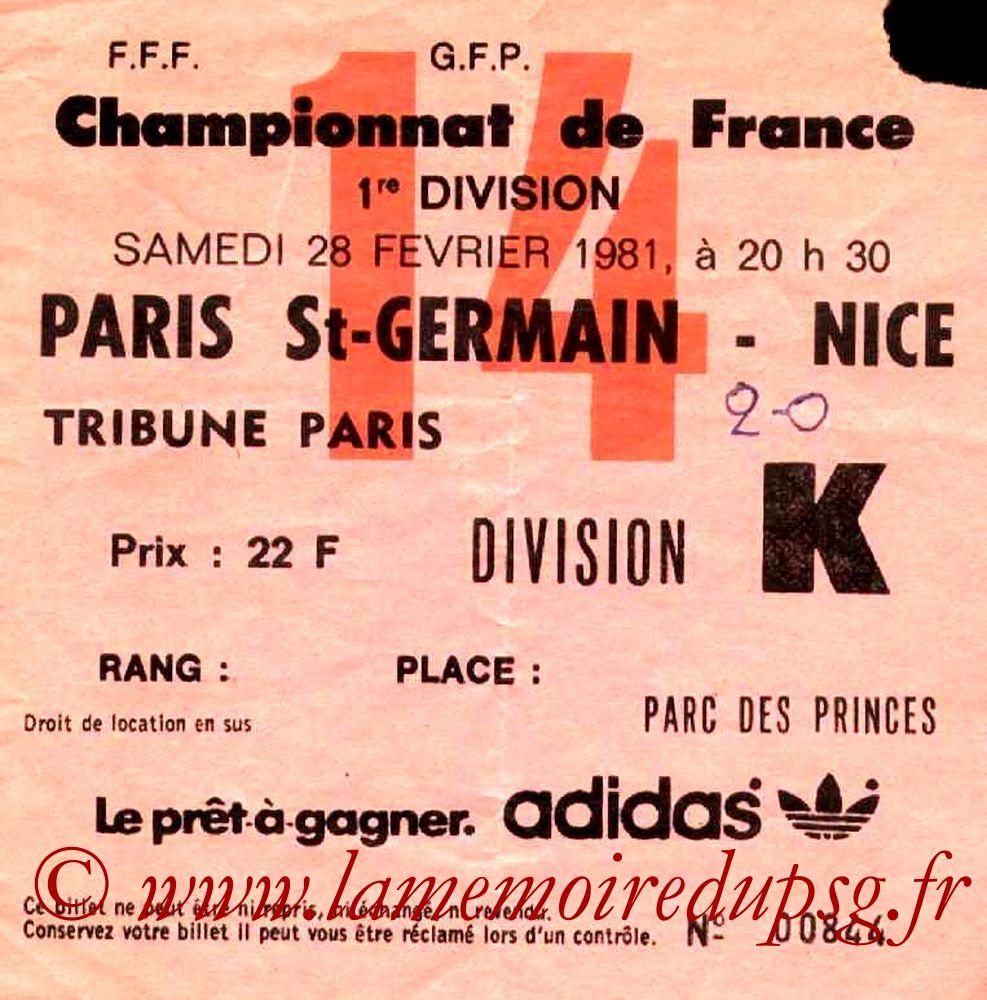 1981-02-28  PSG-Nice (28ème D1, Ticket N°14)
