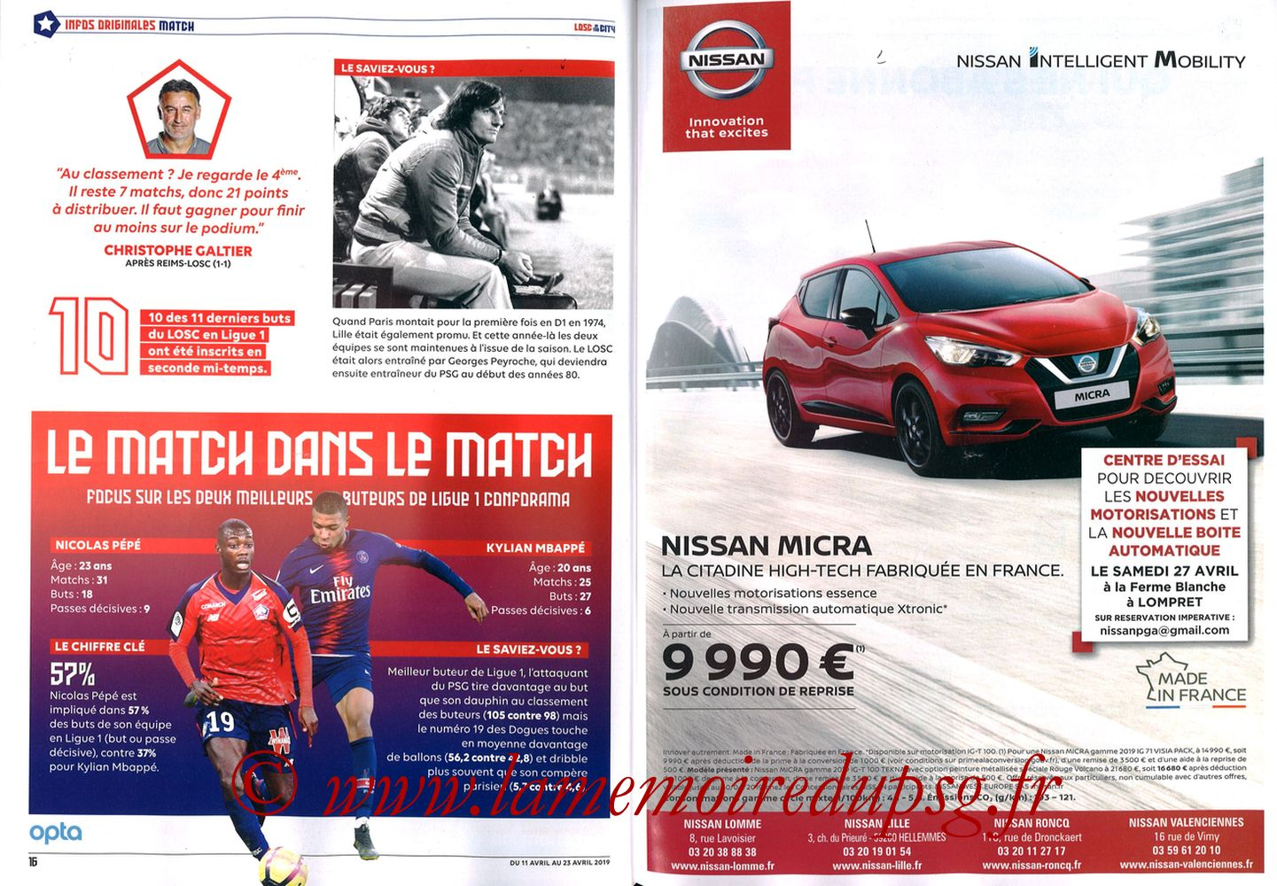 2019-04-14  Lille-PSG (32ème L1, LOSC In the City N° 28) - Pages 16 et 17