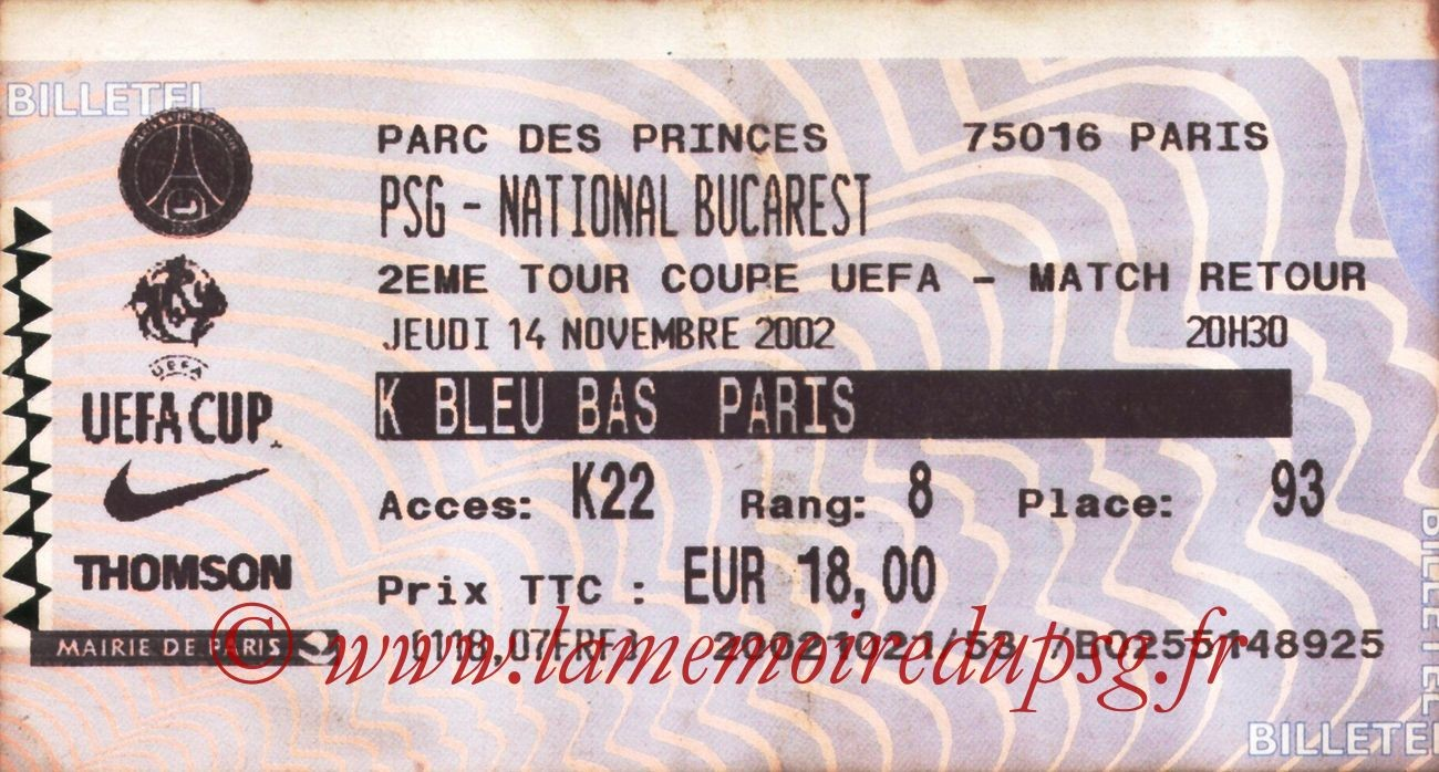 2002-11-14  PSG-National Bucarest (32ème Finale Retour C3, Billetel)