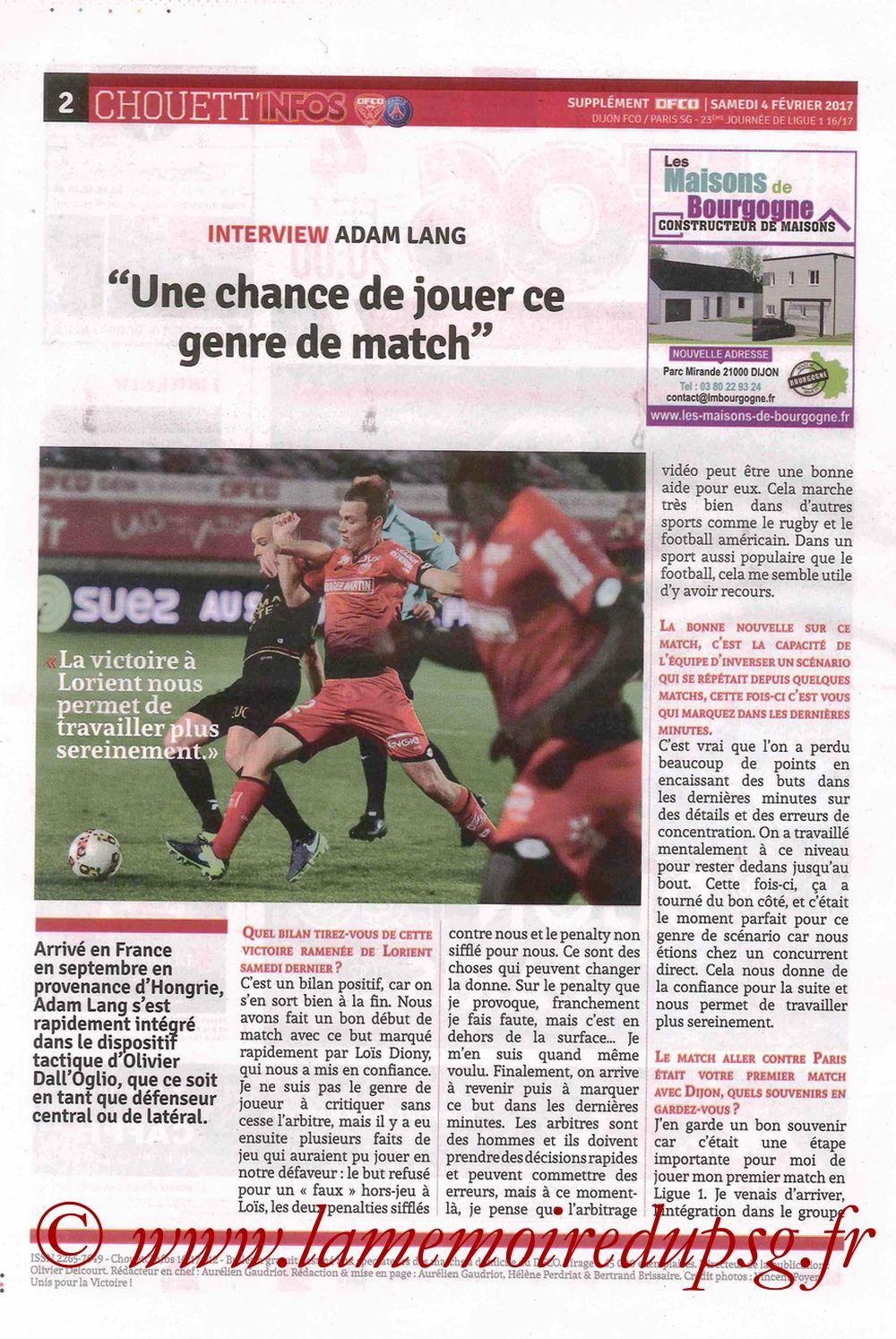 2017-02-04  Dijon-PSG (23ème L1, Chouett' Info N°12) - Page 2