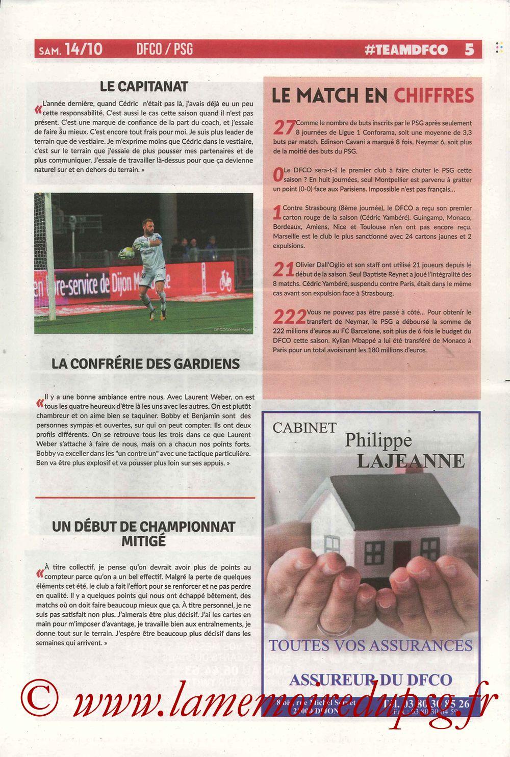 2017-10-14  Dijon-PSG (9ème L1, Chouett'Infos N°5) - Page 05