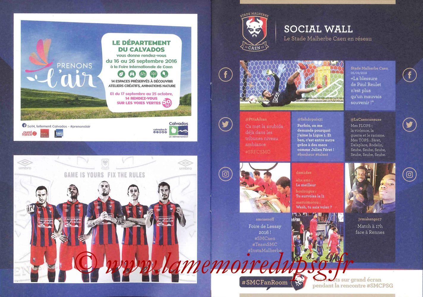 2016-09-16  Caen-PSG (5ème L1, Programme officiel) - Pages 08 et 09