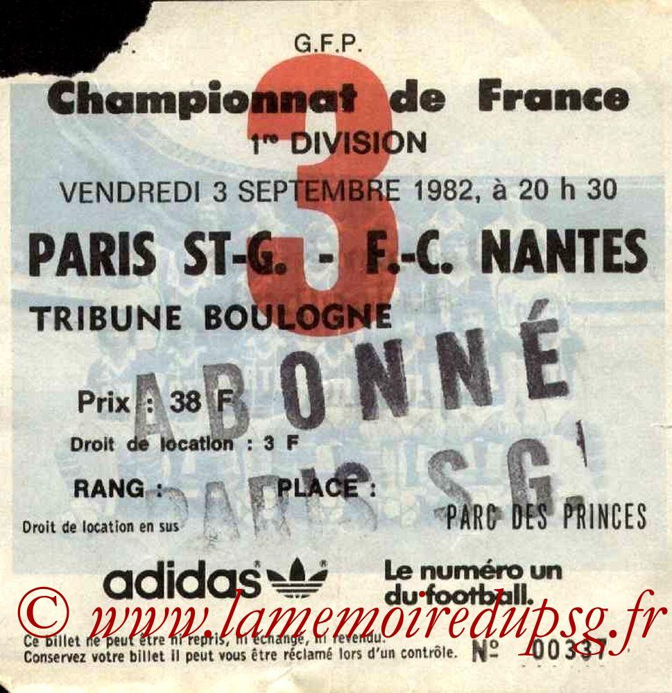 1982-09-03  PSG-Nantes (5ème D1, Ticket N°3)