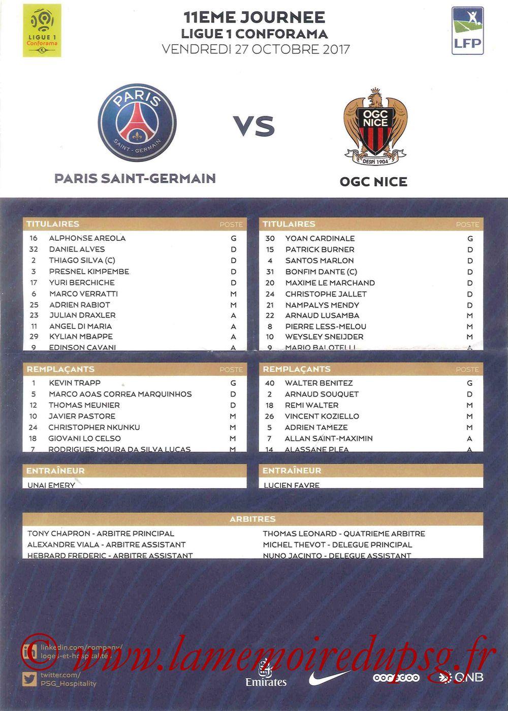 2017-10-27  PSG-Nice (11ème L1, Feuille de match)