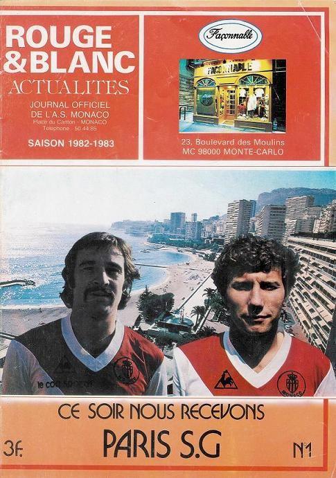 1982-08-17  Monaco-PSG (2ème D1, Rouge et Blanc Actualités N°1)