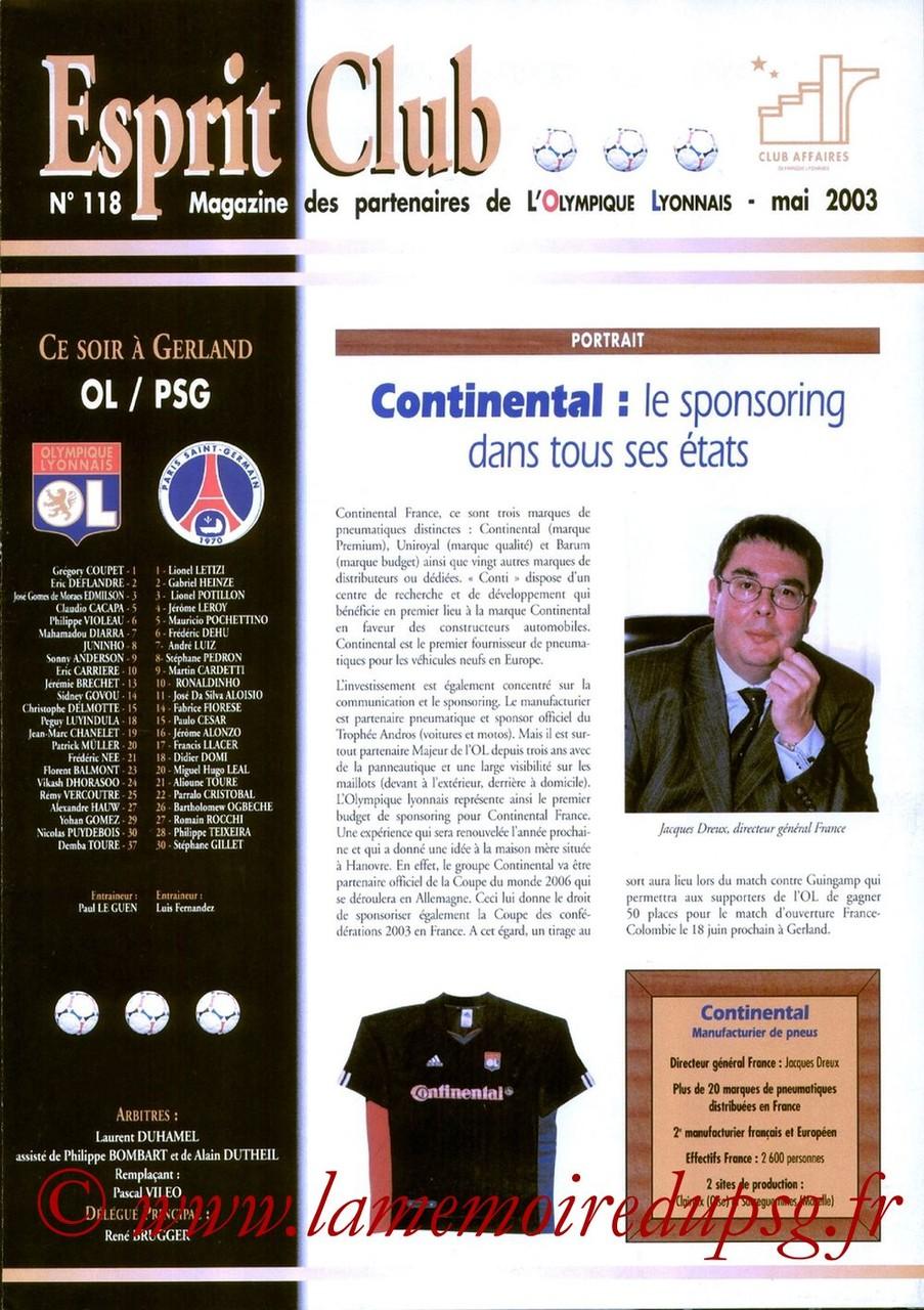 2003-05-11  Lyon-PSG (36ème D1, Esprit Club N°118)
