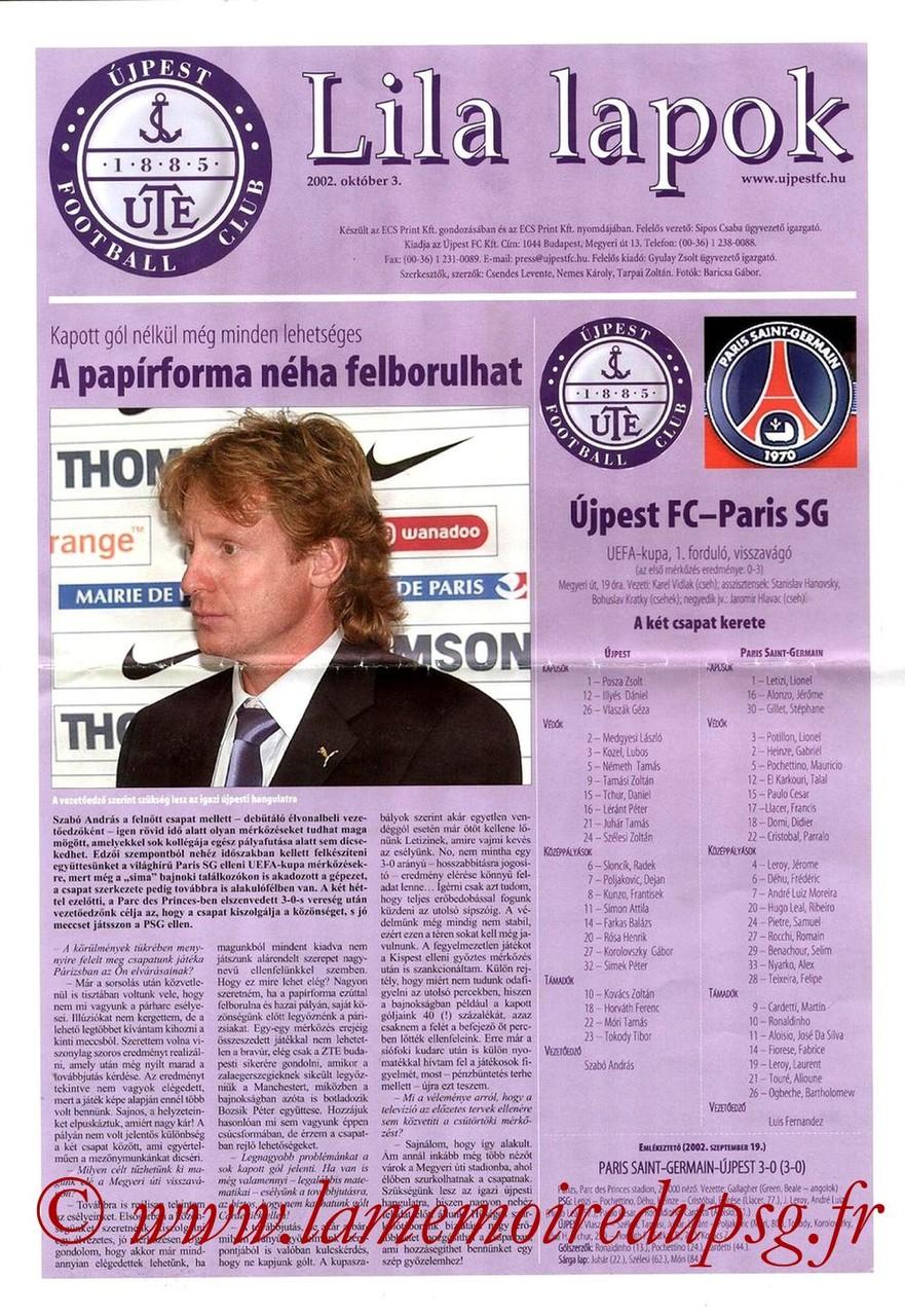 2002-10-03  Ujpest-PSG  (64ème Finale Retour C3  Lila Lapok)