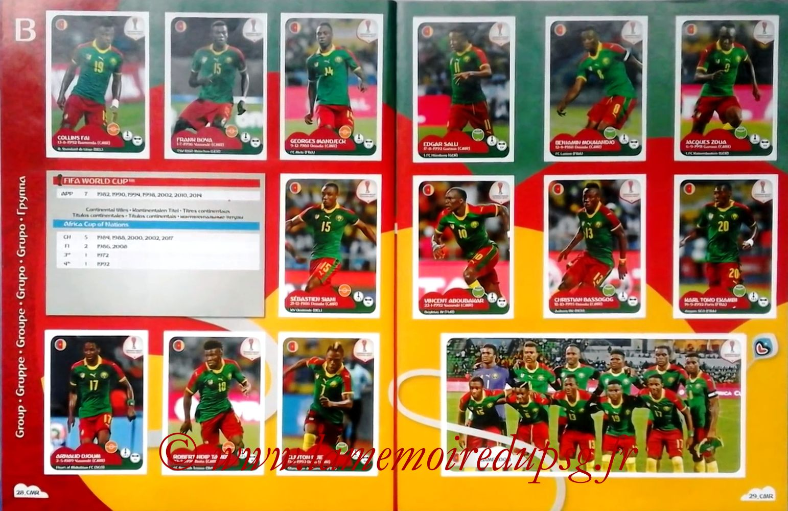 2017 - Panini Confederations Cup Russia Stickers - Pages 28 et 29 - Cameroun