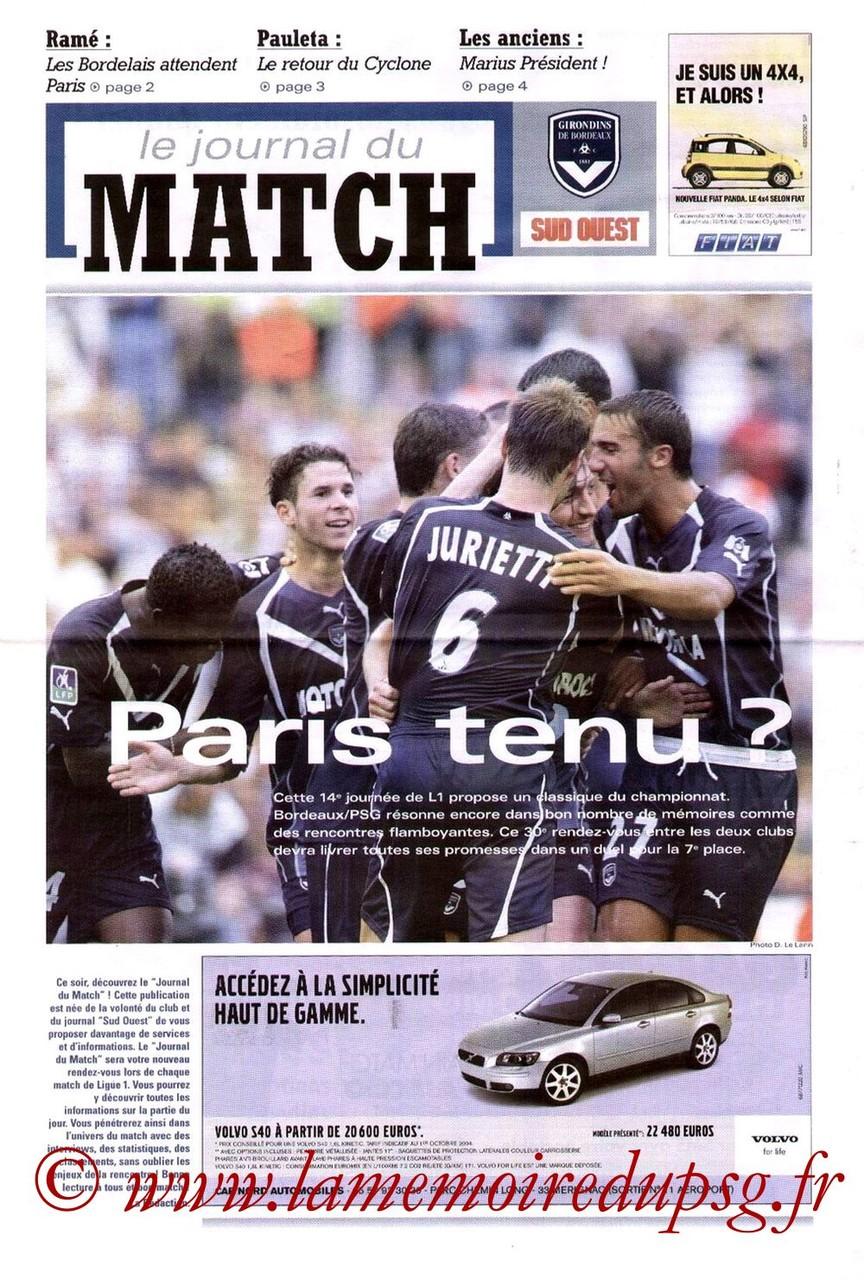 2004-11-13  Bordeaux-PSG (14ème L1, Le journal du match)