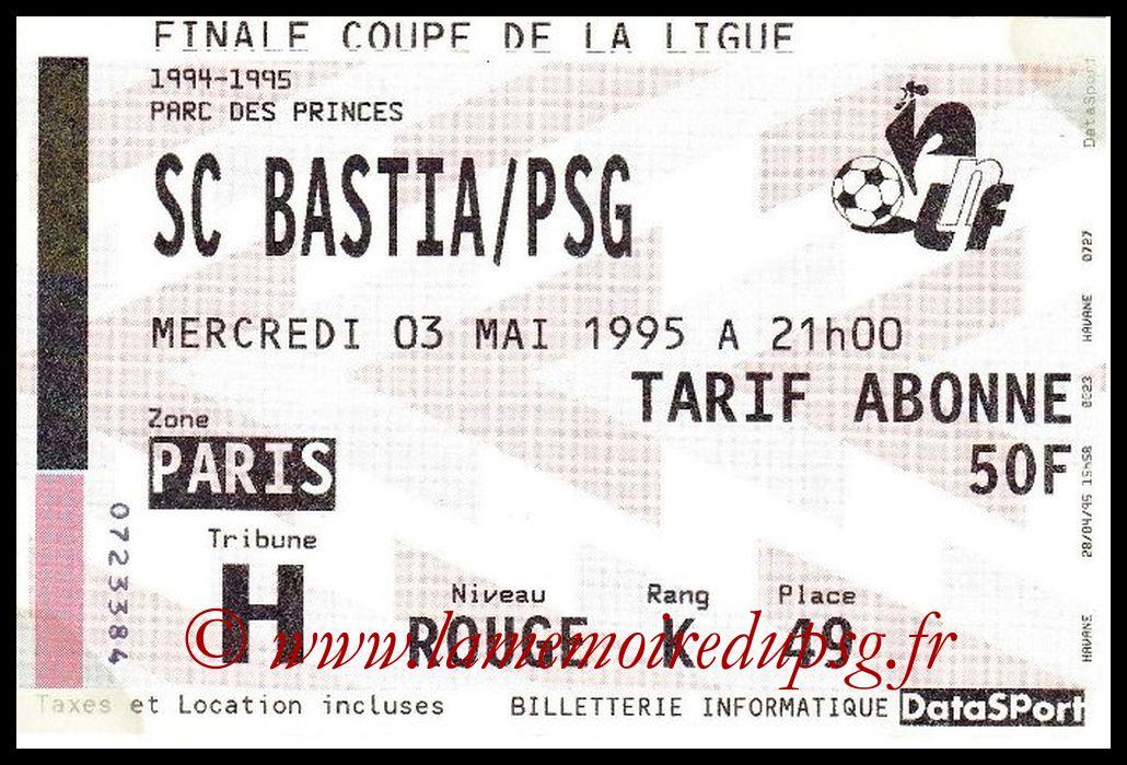 Ticket Finale CL N° 01 - 1995-05-03 - Bastia-PSG (Parc des Princes)