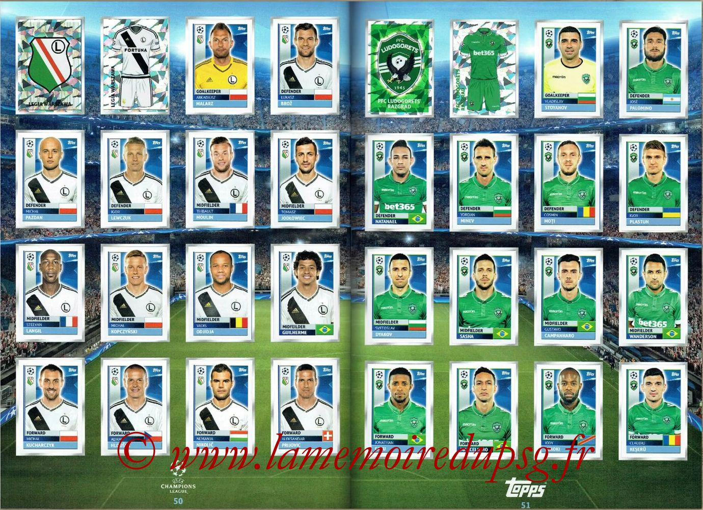 2016-17 - Topps UEFA Champions League Stickers - Pages 50 et 51 - Legia Varsovie + PFC Ludogorets
