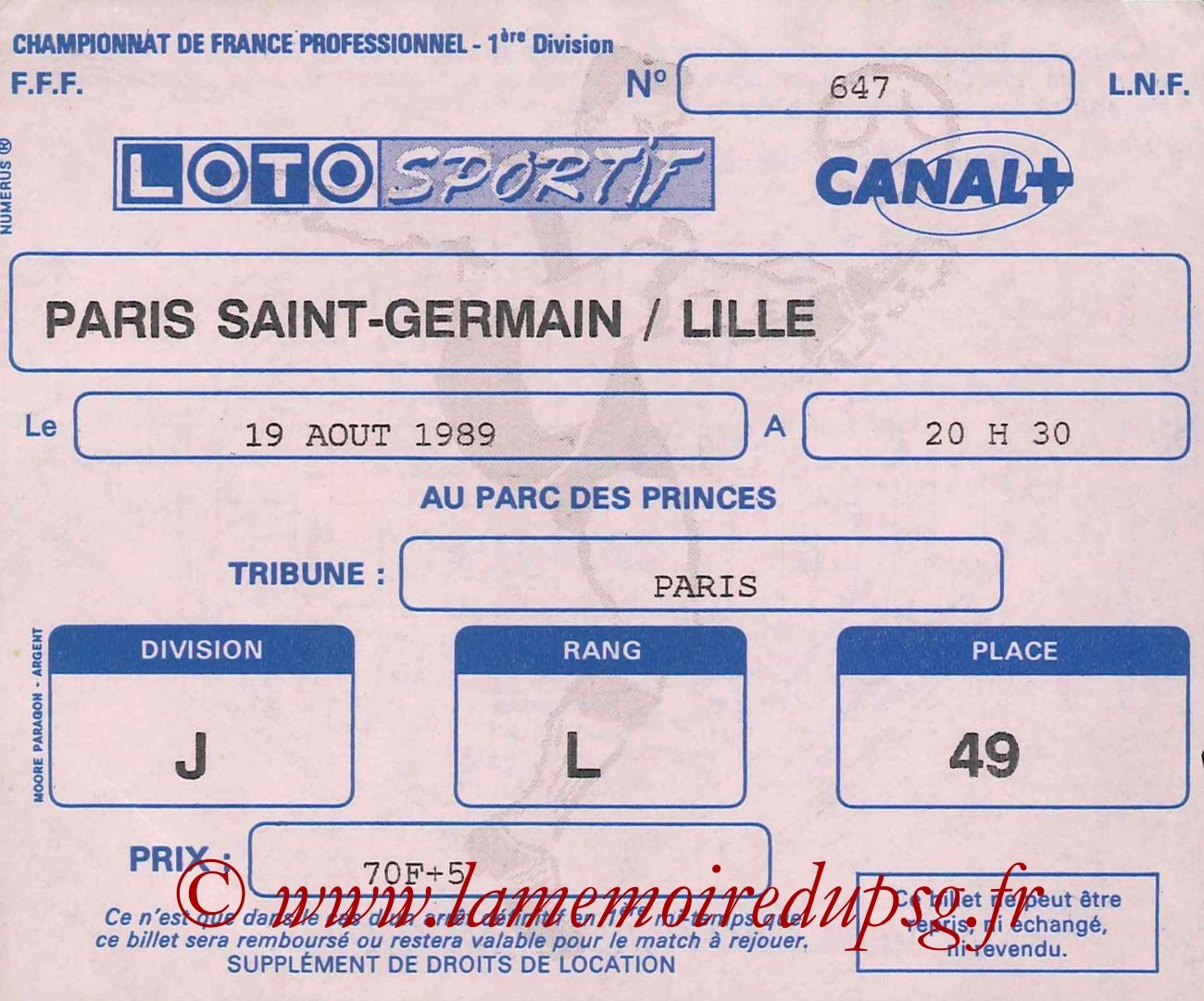 1989-08-19  PSG-Lille (6ème D1)