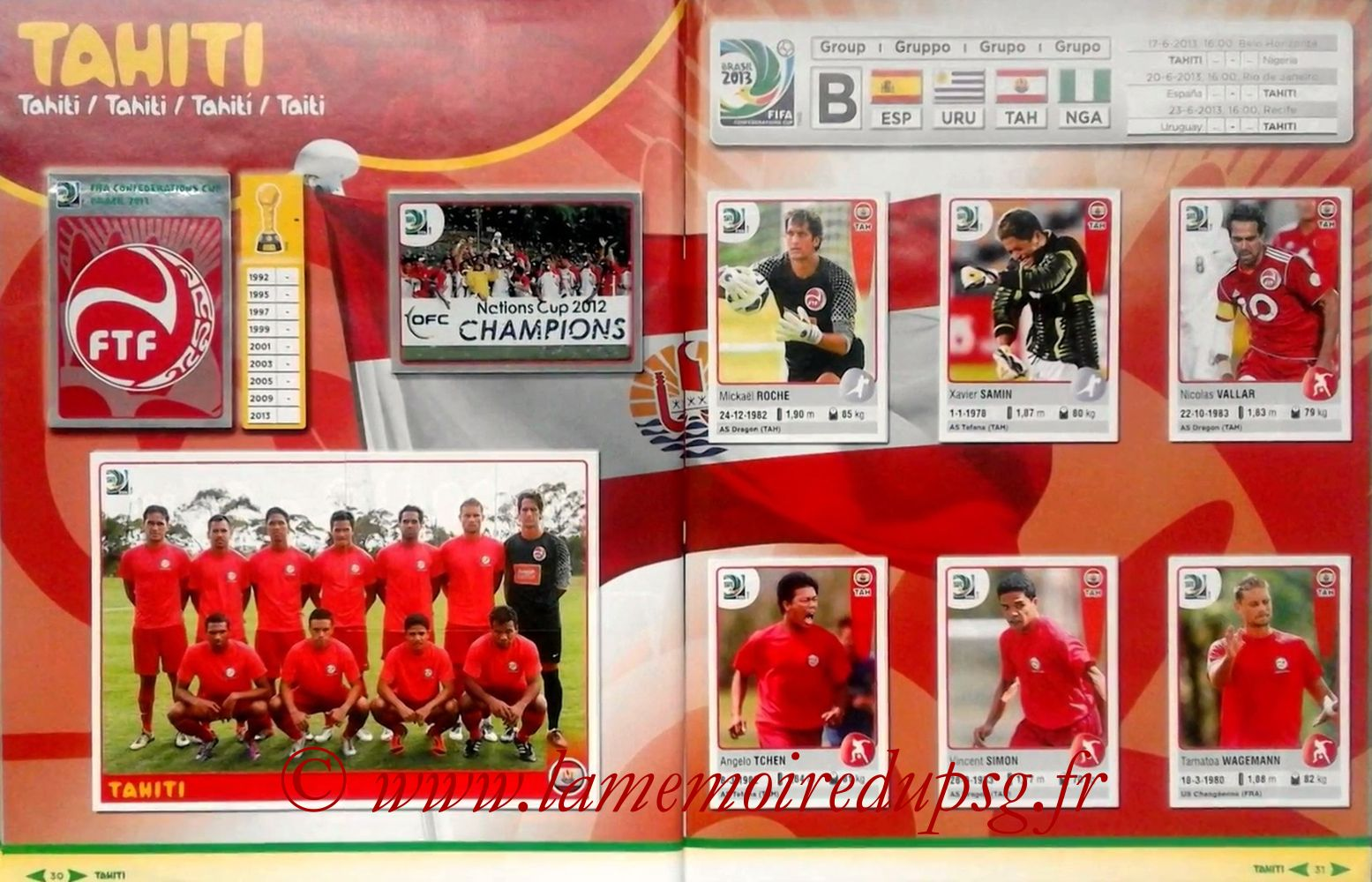 2013 - Panini Confederations Cup Brasil Stickers - Pages 30 et 31 - Tahiti