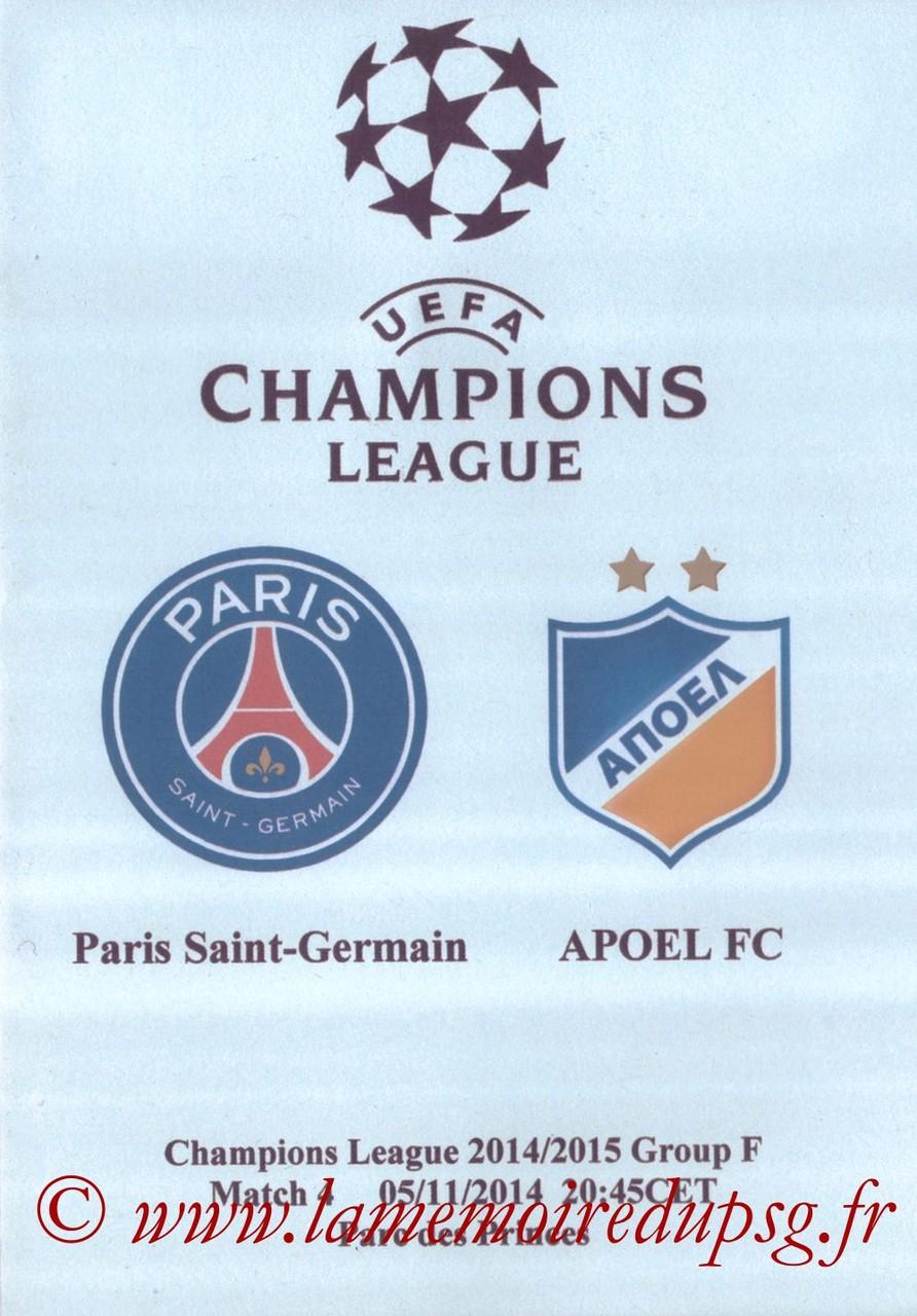 2014-11-05  PSG-Apoel Nicosie (4ème Poule C1, Programme pirate)