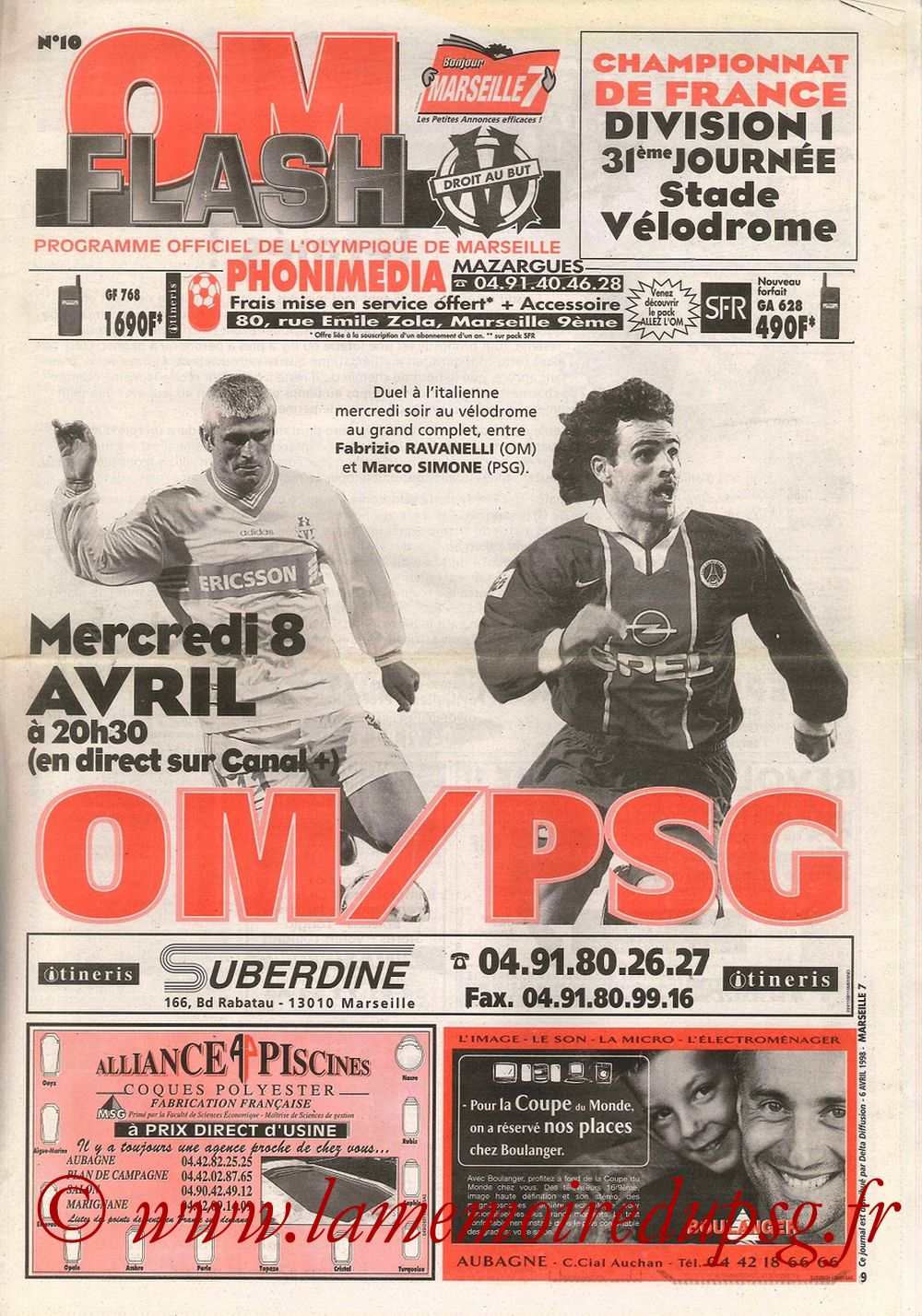 1998-04-08  Marseille-PSG (31ème D1, OM Flash N°10)