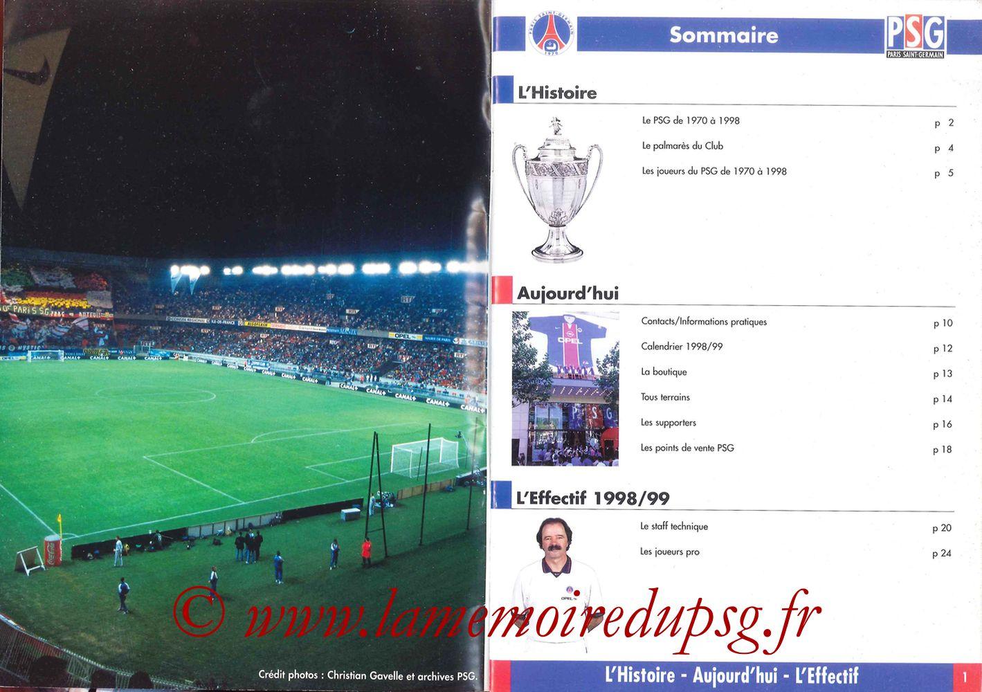 1998-99 - Guide de la Saison PSG - Pages 00 et 01