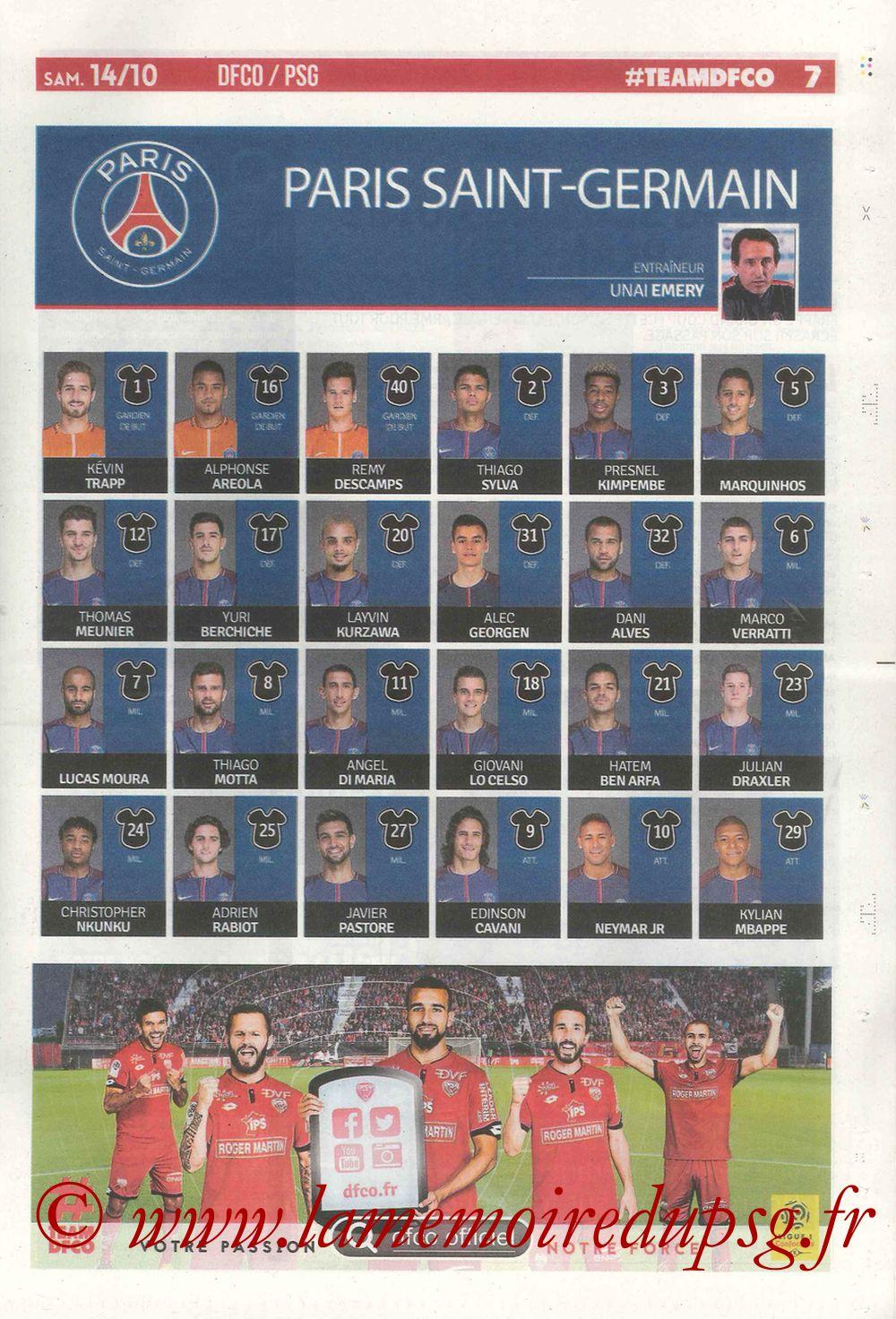 2017-10-14  Dijon-PSG (9ème L1, Chouett'Infos N°5) - Page 07
